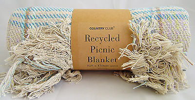 Country Club Recycled Cotton Picnic Blanket Throw Travel Rug 120x150cm Blue