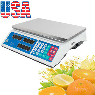 US 30KG Digital Weight Scale Price Computing Vegetable Fruit Meat Produce Market