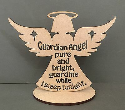 S226 GUARDIAN ANGEL GUARD ME TONIGHT Wall Wood Plaque Quote Sign Wooden MDF