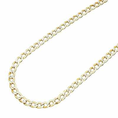 """14K Yellow Gold  4mm Hollow Diamond Cut Cuban Curb Link Chain Necklace 24"""""""