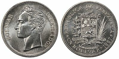 VENEZUELA 1967 Nickel Bolivar. PCGS SP68. Y 42. King's Norton Mint