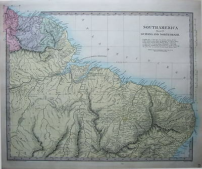 SOUTH AMERICA, GUYANA & NORTH BRAZIL  SDUK  Hand Coloured Antique Map 1857