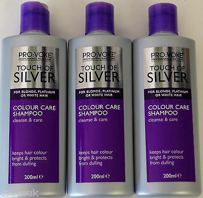 3 x 200ml Touch Of Silver Color Care Shampoo For Blonde & White Hair