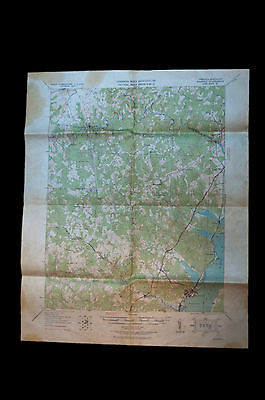 "Vtg 1927 Quantico Virginia Maryland  US Army Tactical Map 21"" x 17.5"""