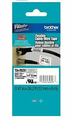 "Brother TZe-FX231 P-Touch Label Tape, ½"" Black on White, Flexible ID"