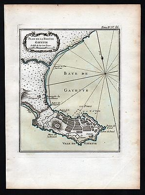 1764 - Gaeta city plan stampa Bellin Karte map carta acquaforte Kupferstich