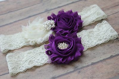 Plus size garter, purple garter set, bridal garter, wedding leg garter.US seller