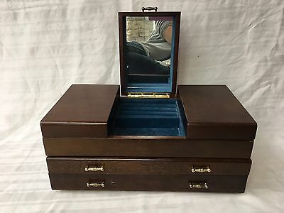 Large Vintage Wooden Tabletop Jewelry Cabinet Chest Box With Mirror