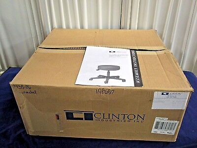 "Clinton 2135-26 Exam Stool Kit 5-Leg Pneumatic 24"" Base 4"" Thick Seat 250lb NEW"