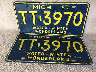 Matched Pair 1967 Michigan License Plate Plates Free Shipping