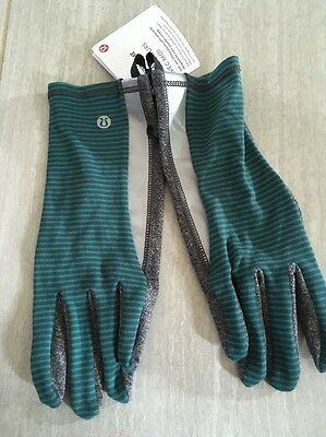 Lululemon Run With Me Gloves Grey Gray Green Stripe Heathered Black M/L