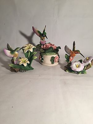 lot of 3 hummingbird figures porcelain figurines and trinket box ceramic