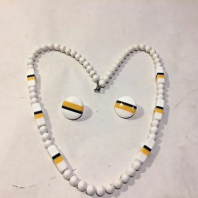 Vtg ART DECO 70-80s Plastic CHUNKY Necklace Yellow White Black Striped w Earring