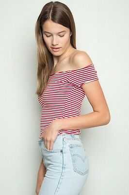 27352d7e9f3f85 New! brandy melville red white Striped Cropped off shoulder cotton Lee top  NWT