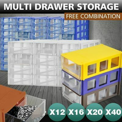 12/16/20/40 Multi Drawer Storage Cabinet Unit Nail Screw Craft Bits Organiser