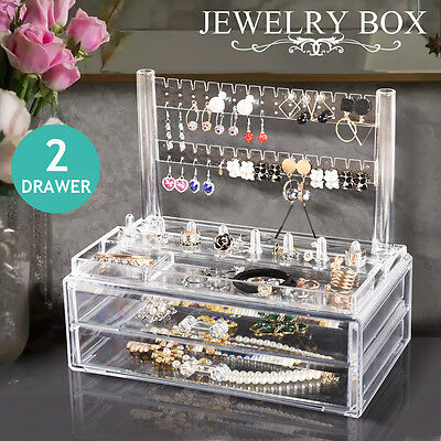 Acrylic Jewellery Cosmetic Organiser Ring Earring Display Rack Storage 2 Drawer