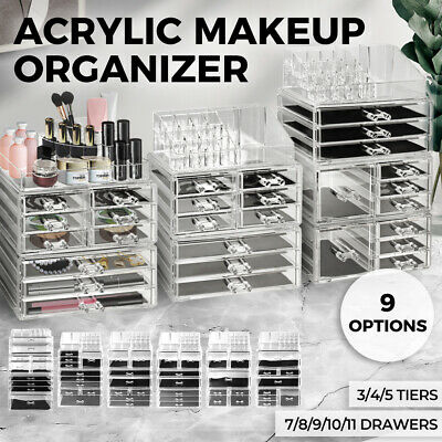 Cosmetic 7/8//9/10 Drawer Makeup Organizer Storage Jewellery Box Acrylic Holder