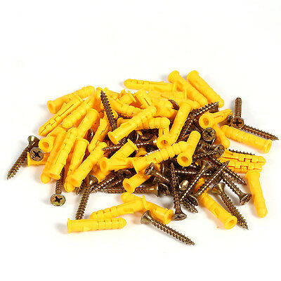 50pcs Expansion Wall Anchor Screws Expand Tube Yellow for Wood Floor Keel New