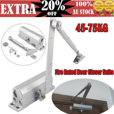 2X Adjustable Automatic Fire Rated Hold Open Silver Door Closer Suits 60-80KG DP