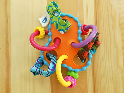 Playgro Hoopla Roundabout Rattle Teething Ring Teether links textures crinkles
