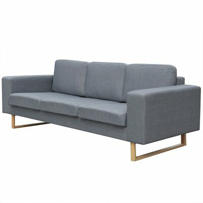 #3 Seater Fabric Sofa Lounger Couch Furniture w/ Padded Cushions Light Grey