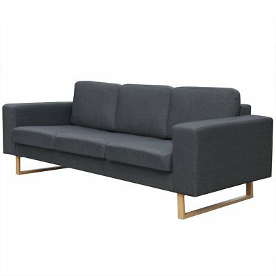 #3 Seater Fabric Sofa Lounger Couch Furniture w/ Padded Cushions Dark Grey