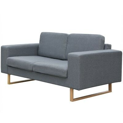 #2 Seater Fabric Sofa Lounger Couch Furniture w/ Padded Cushions Light Grey