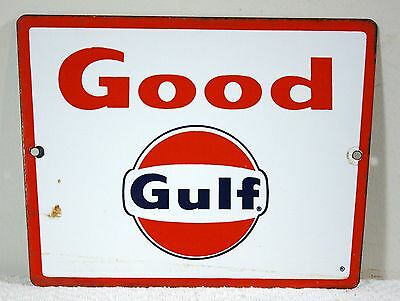 "Vintage Original GOOD GULF Porcelain Gas Pump Plate Sign ~ 11.25"" x 8.5"""