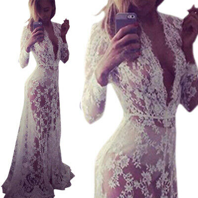 Women Elegant Floral Lace Boho Long Maxi Dress Evening Party Wedding Ball Gown