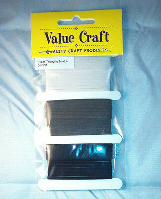 3mm Leather Suede Thonging Lacing Black/White/Grey - 2m of each colour