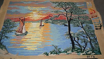 TAPESTRY CANVAS AND WOOL 'LAKE IN THE EVENING'  made in Germany