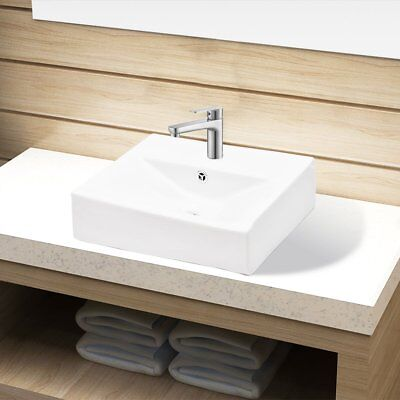 # White Bathroom Above Counter Sink Vanity Basin Top Bowl Rectangular Overflow
