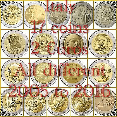 Italy 2 Euro 17 Coins All Different 2005 To 2016 New BUNC from Roll Job Lot