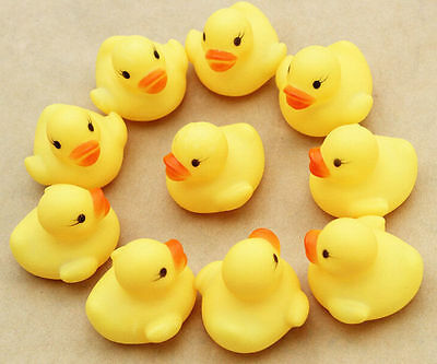 10 NEW Small Kids  Bath Yellow Duck Toys Fun Floating Water Bath Rubber Duck