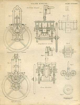 Antique print STEAM ENGINE - ROTATORY - copper plate engraving - 1842