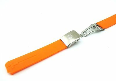 Orange Rubber Silicone Strap Band for Tissot Sport Watch T-Touch 21mm With Clasp