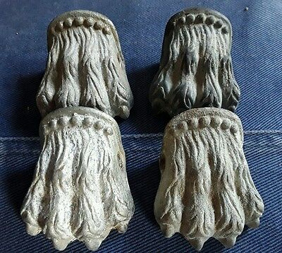 4 x Vintage Brass Lion Paw Shoes