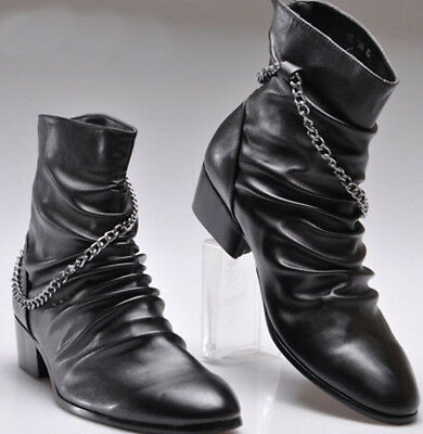 Mens Chic Chains High top Punk Pointed Toe Zipper Rock Pleated Ankle Boots Shoes