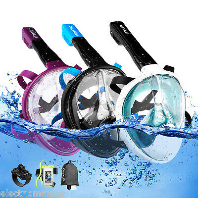 Full Face Diving Snorkel Snorkeling Mask Swimming Goggles for GoPro w/ Case+Band