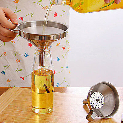 Stainless Steel Pouring Detachable Liquid Funnel With Filter Jam Strainer Hopper