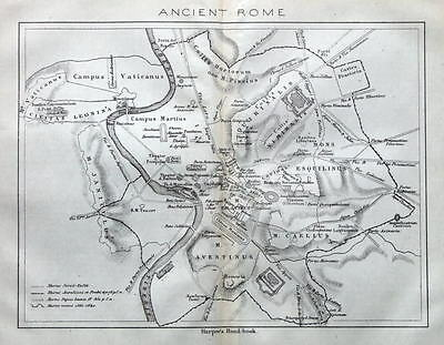 ANCIENT ROME, ITALY, STREET PLAN original antique map 1872