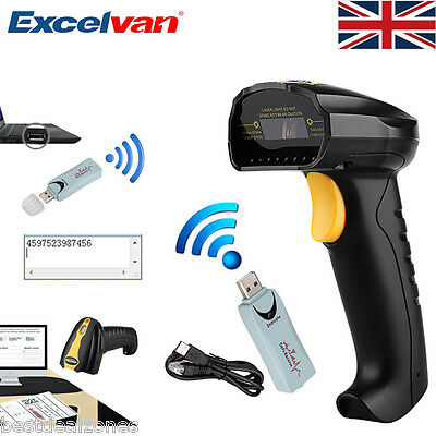 POS Wireless USB Laser Barcode Scanner Bar Code Scan Reader With Stand Handheld