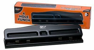 4 Hole Punch Black Heavy Metal Duty Adjustable Paper Hole punch Boxed 300038