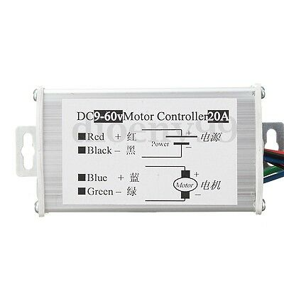 DC 9-60V Max 20A SoftStart Stepless Variable Motor Speed Control PWM Controller