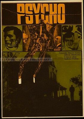 ALFRED HITCHCOCK - ANTHONY PERKINS - PSYCHO * RARE CZECH ORIGINAL small POSTER!