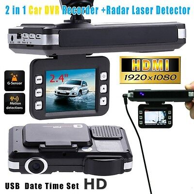 2 in 1 HD Car DVR Recorder Video Dash Camera+Radar Laser Speed Detector G-Sensor