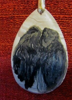 Kerry Blue Terrier hand painted on teardrop pendant/bead/necklace