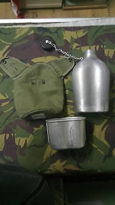 pre-owned VINTAGE FRENCH ARMY METAL WATER FLASK with CUP & CASE