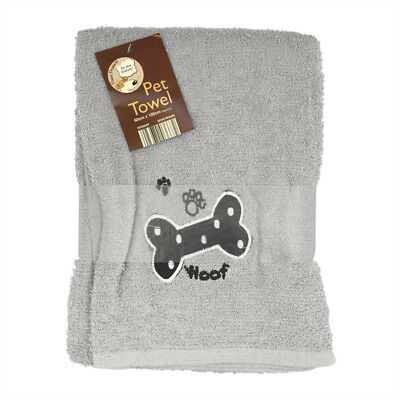 Country Club Pet Towel 60x120cm Grey Woof Super Absorbent Soft Cotton Dog Cat