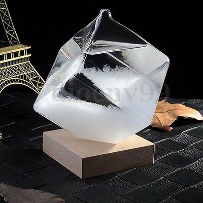 AU Weather Forecast Storm Glass Crystal Cube Shape Home Decor Xmas Wedding Gift